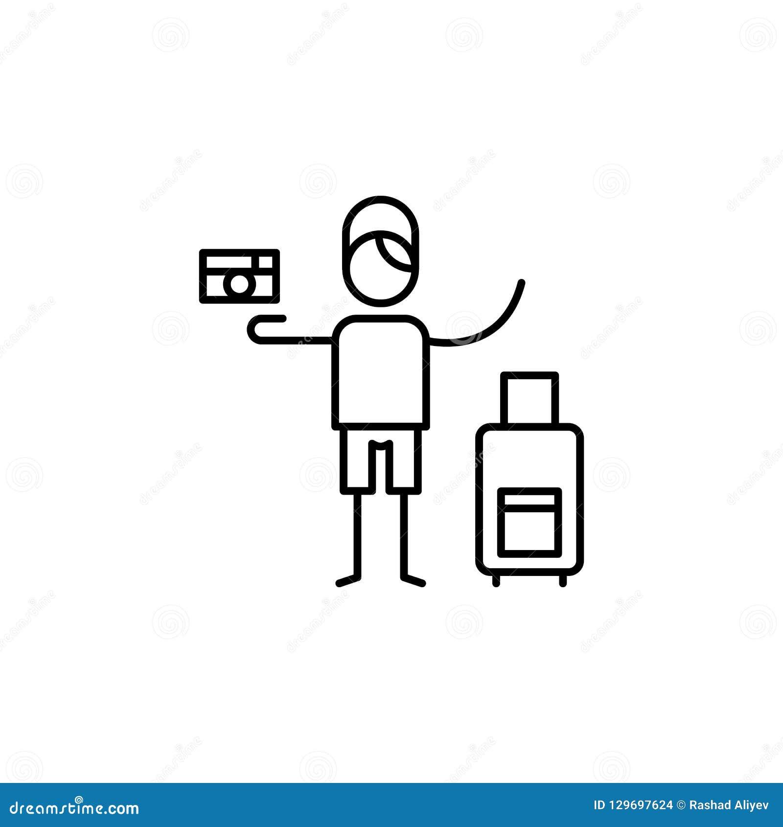 Turista, hombre, icono de la cámara Elemento de la gente en la línea icono del viaje Línea fina icono para el diseño y el desarro