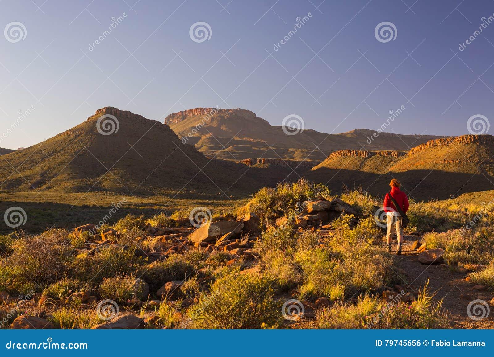 Turista que camina en el rastro marcado en el parque nacional del Karoo, Suráfrica Montañas, barrancos y acantilados escénicos de