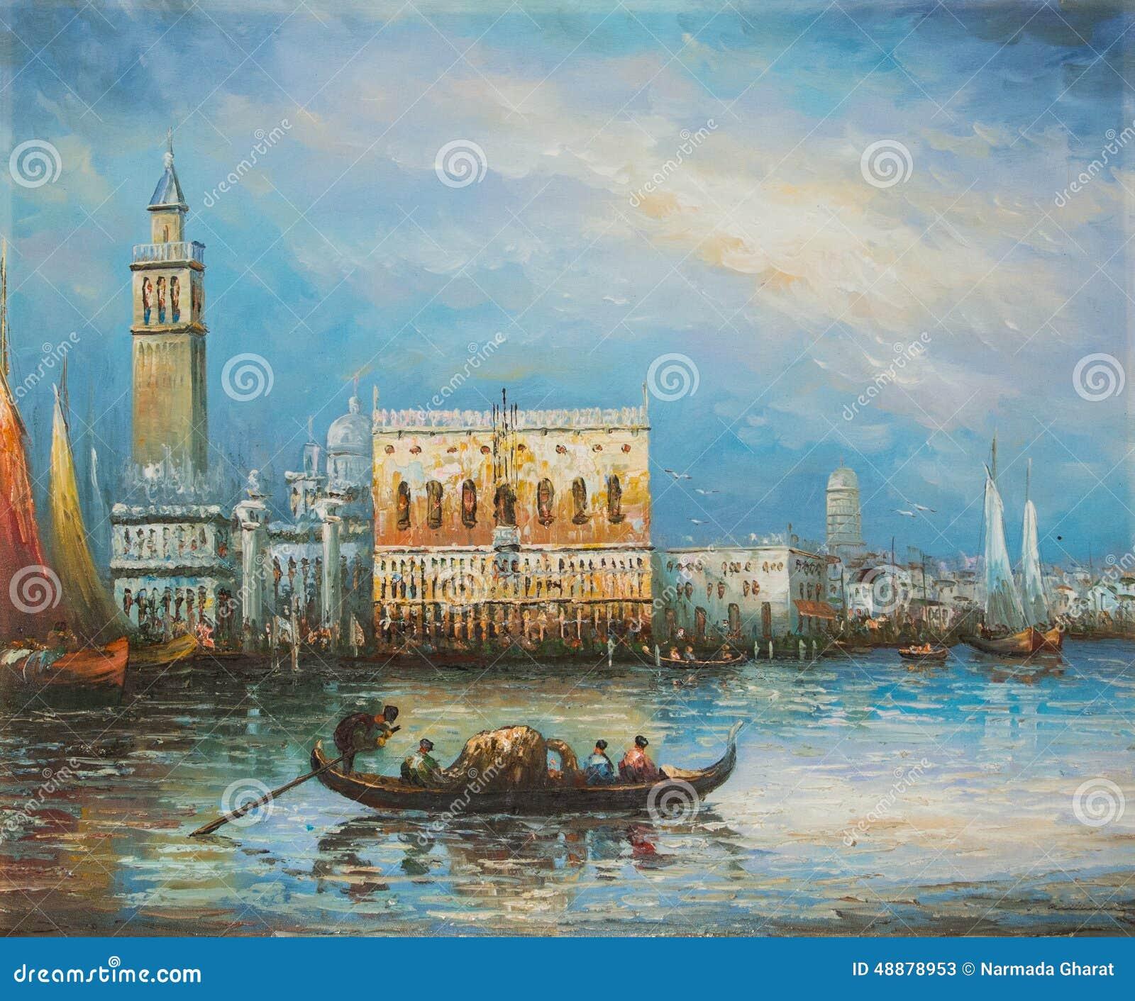Turista que toma o passeio da gôndola em Veneza Itália - pintura a óleo
