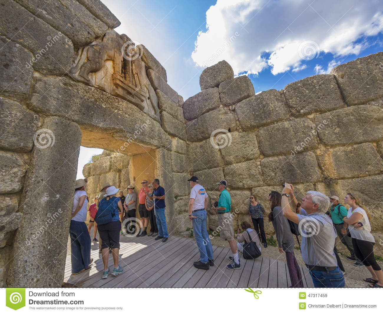 Turistsight på lejonets port, Mycenae, Grekland
