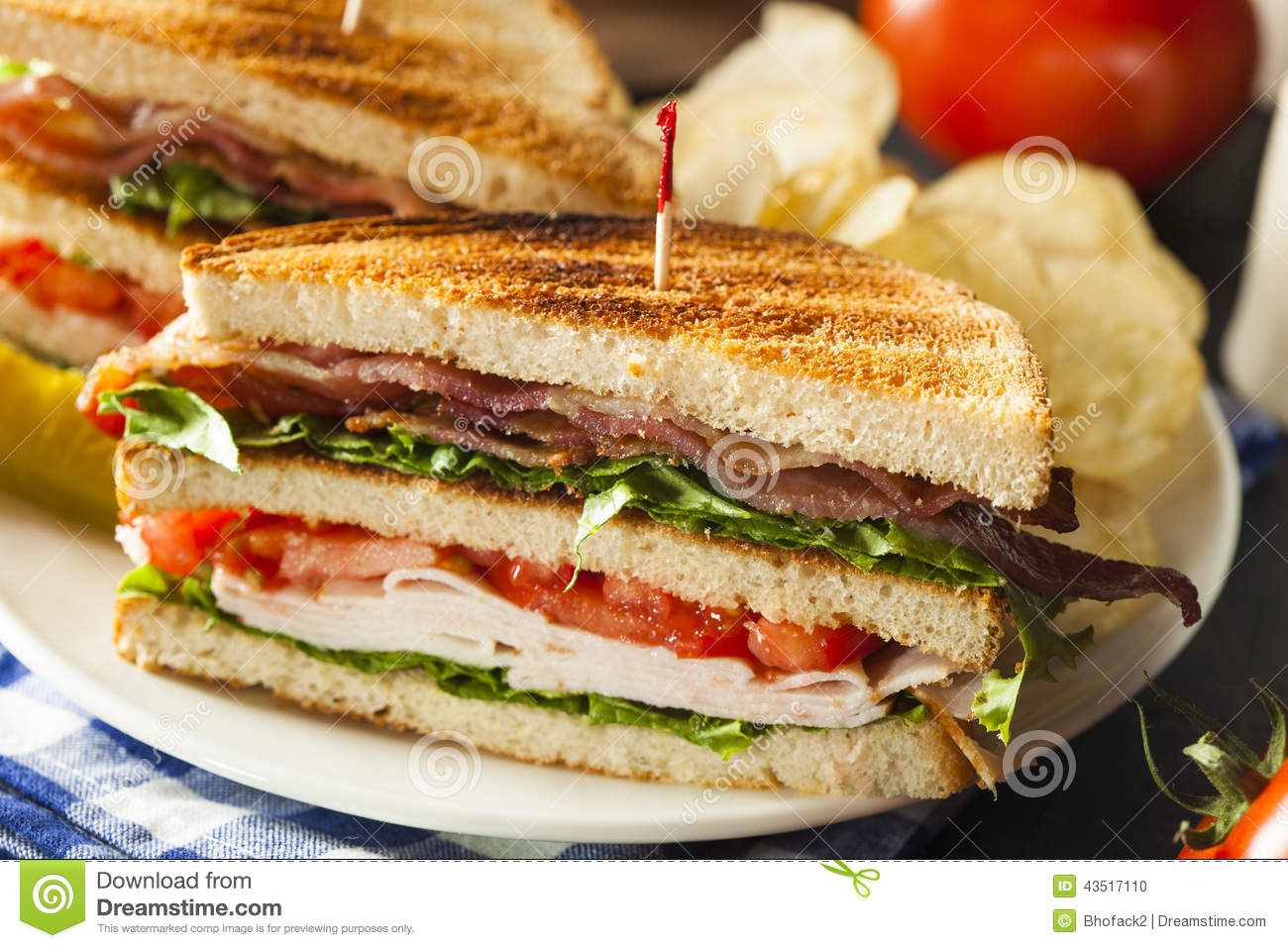 Turkey And Bacon Club Sandwich Stock Photo - Image: 43517110