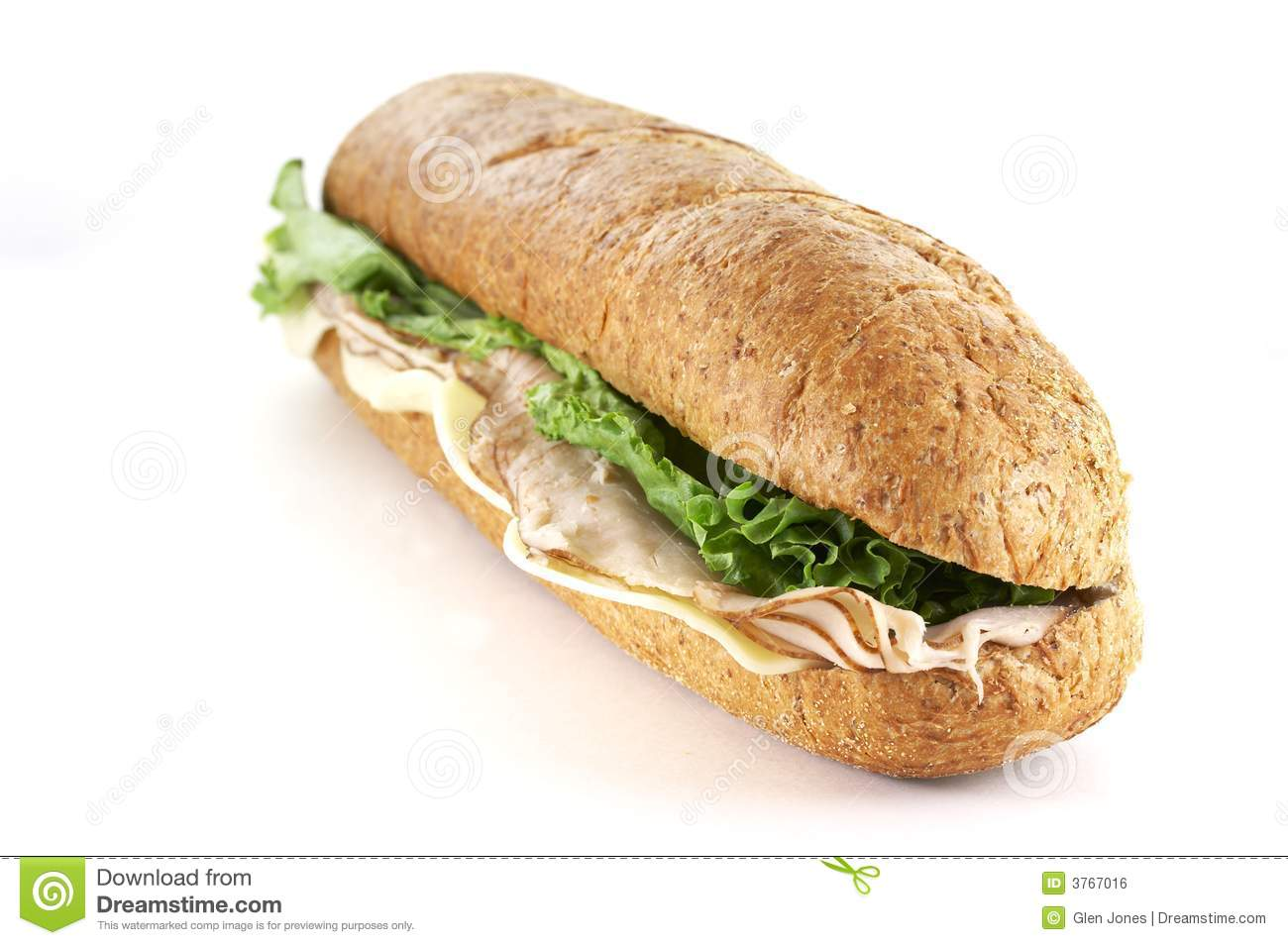 Turkey and cheese sub sandwich close up.