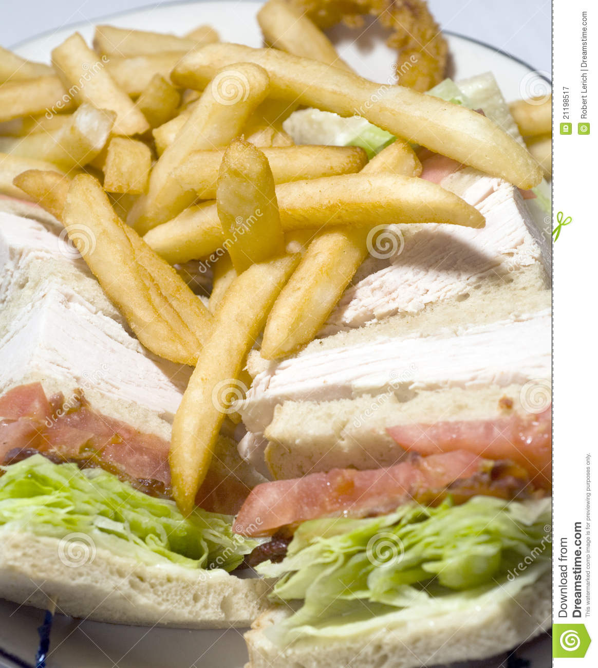 Turkey club sandwich french fries