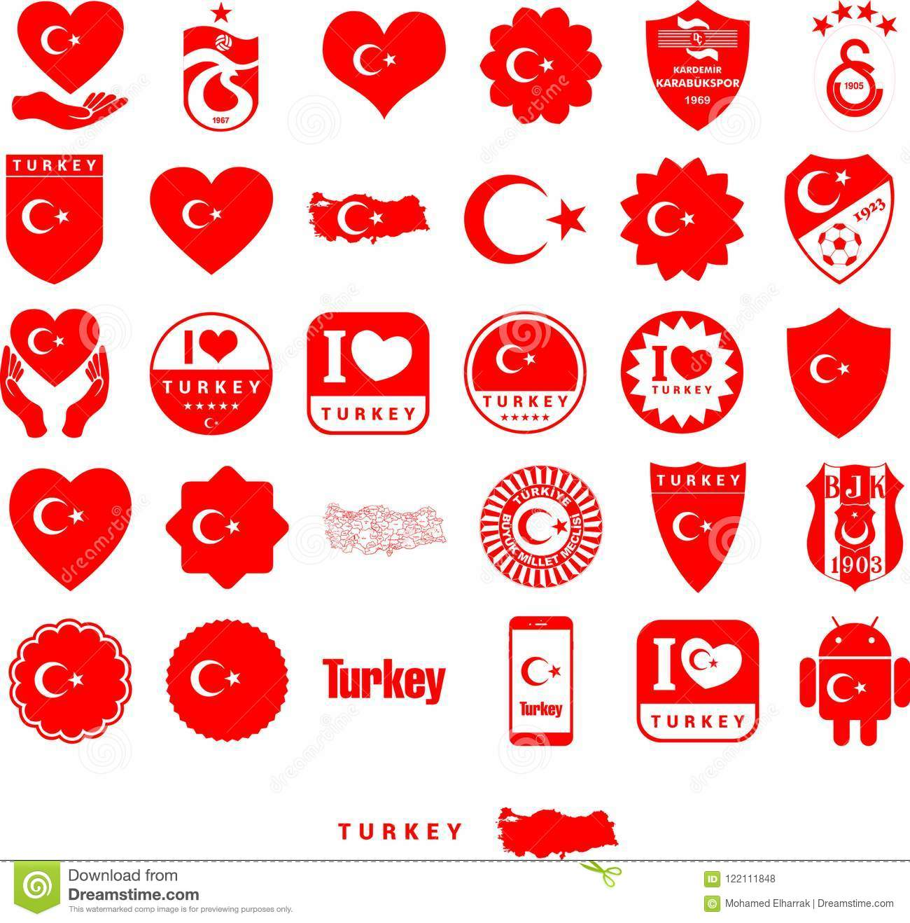 turkey country symbols eps10 stock vector illustration of victor