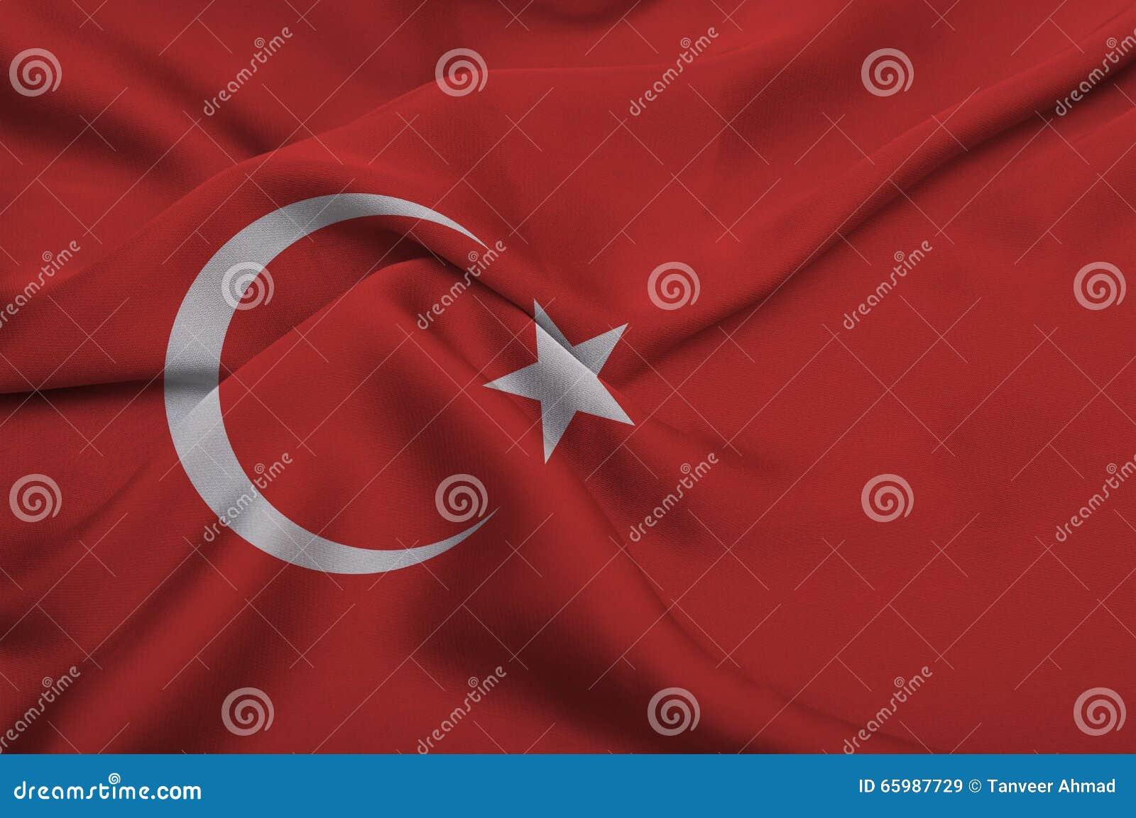 Turkey Flag on silk background