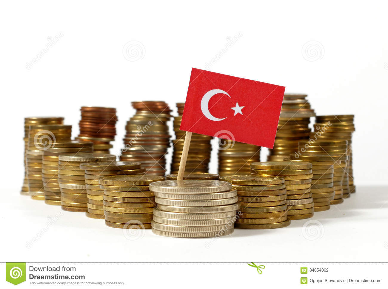 Turkey flag with stack of money coins
