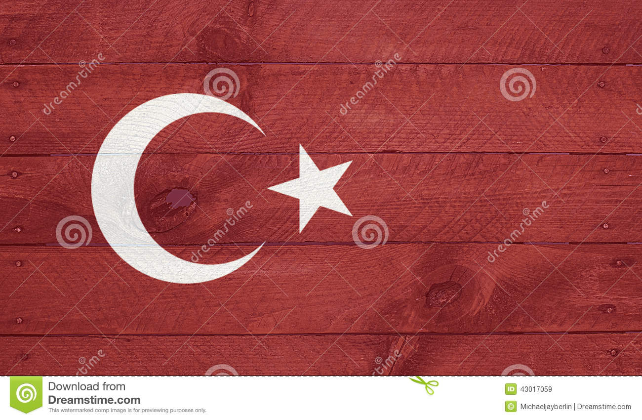 Turkey flag on wood boards with nails
