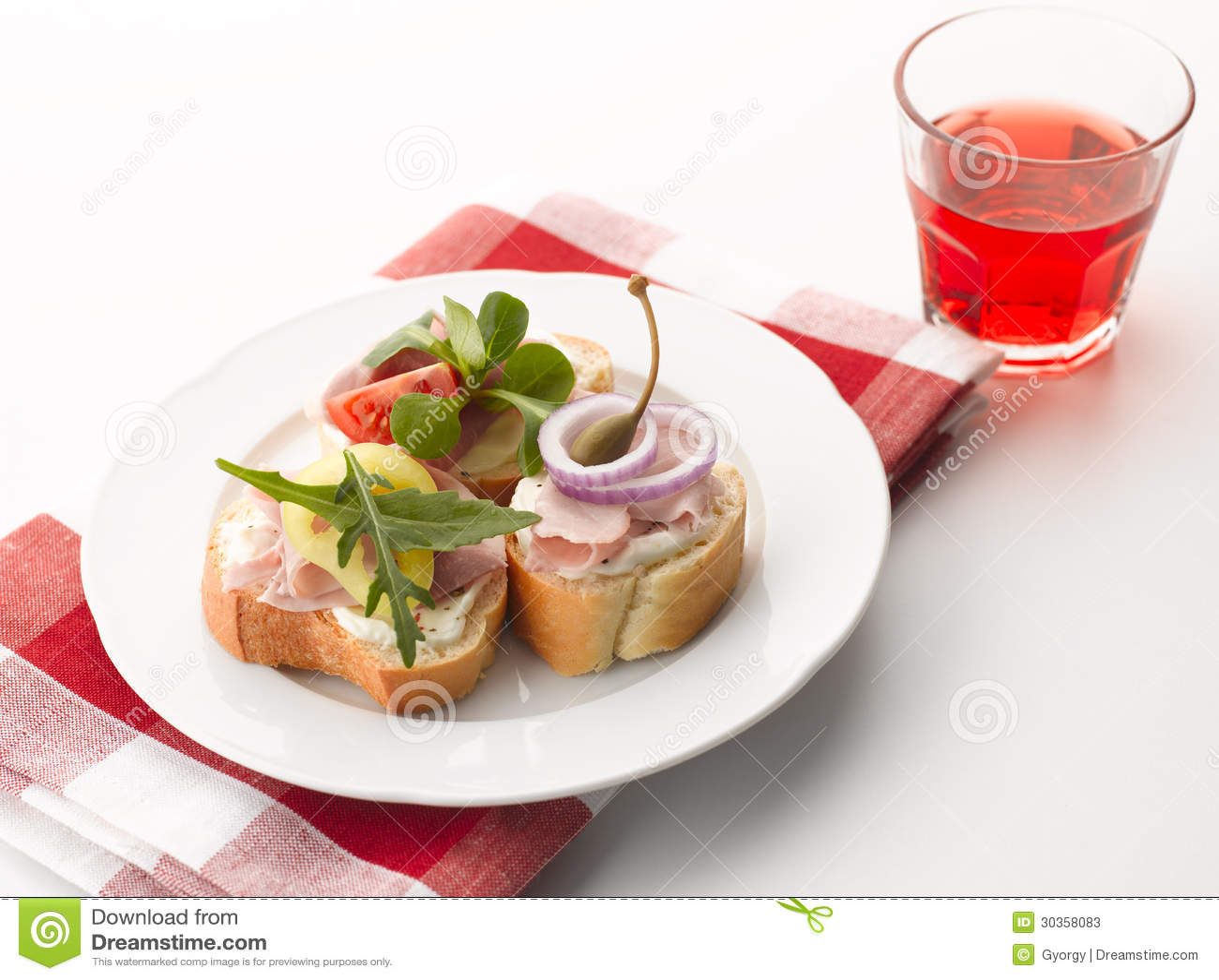 Turkey ham canapes stock photos image 30358083 for Canape sandwich