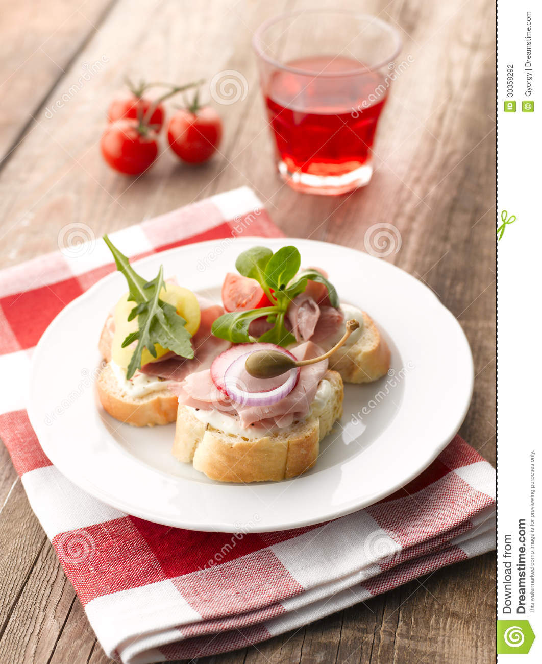 Turkey ham canapes stock photography image 30358292 for Canape sandwiches