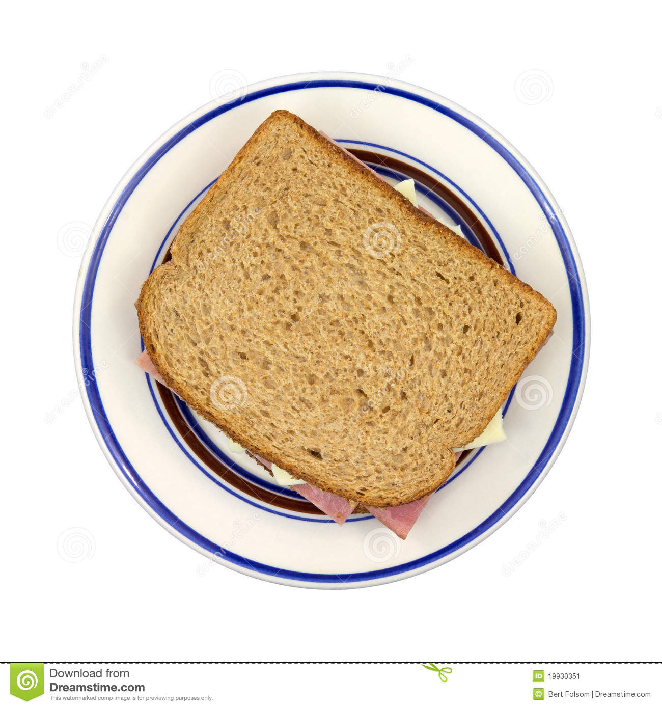 Turkey Ham And Cheese Sandwich On Plate Stock Image ...
