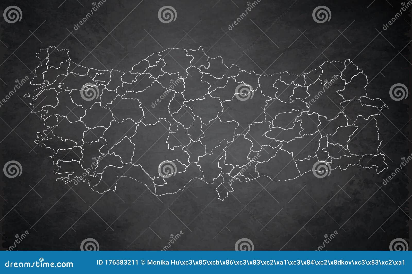 Turkey Map Design Card Blackboard Chalkboard Blank Stock Vector Illustration Of Chalk Asia 176583211