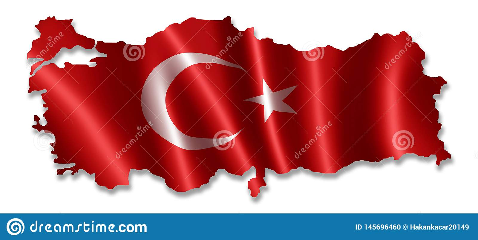 Turkey map with flag.