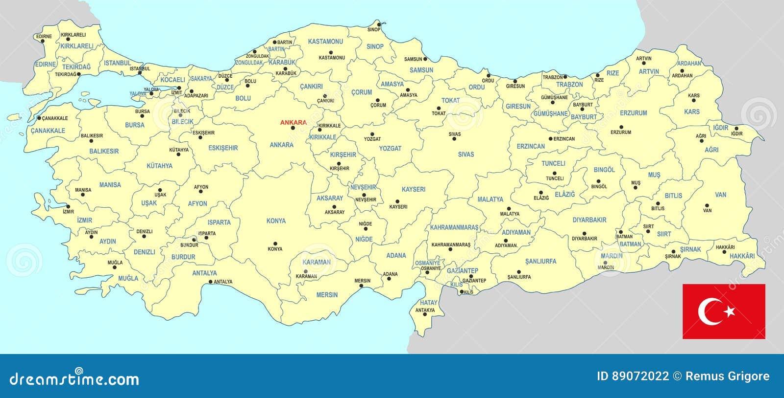 Turkey map cdr format stock vector Illustration of eskisehir