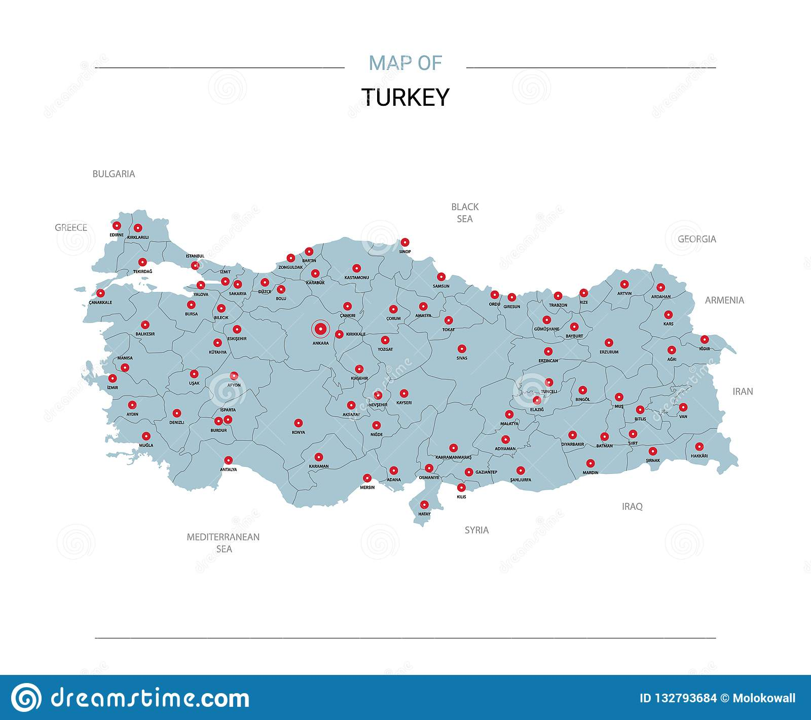 Turkey Map Vector With Red Pin Stock Vector - Illustration of nation ...