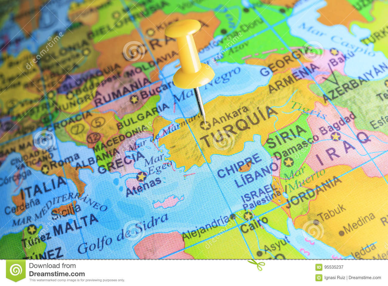 Map Of Europe And Turkey.Turkey Pinned On A Map Of Europe Stock Image Image Of Country