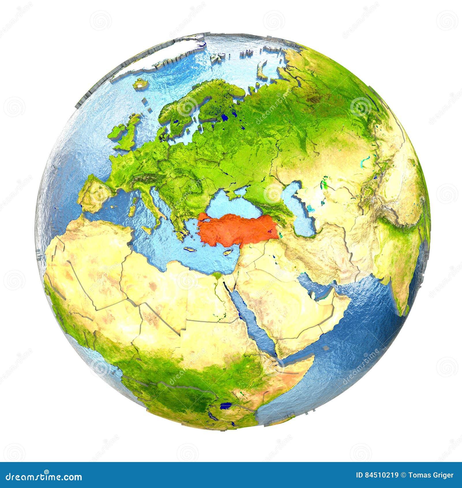 Full Earth Map.Turkey In Red On Full Earth Stock Illustration Illustration Of