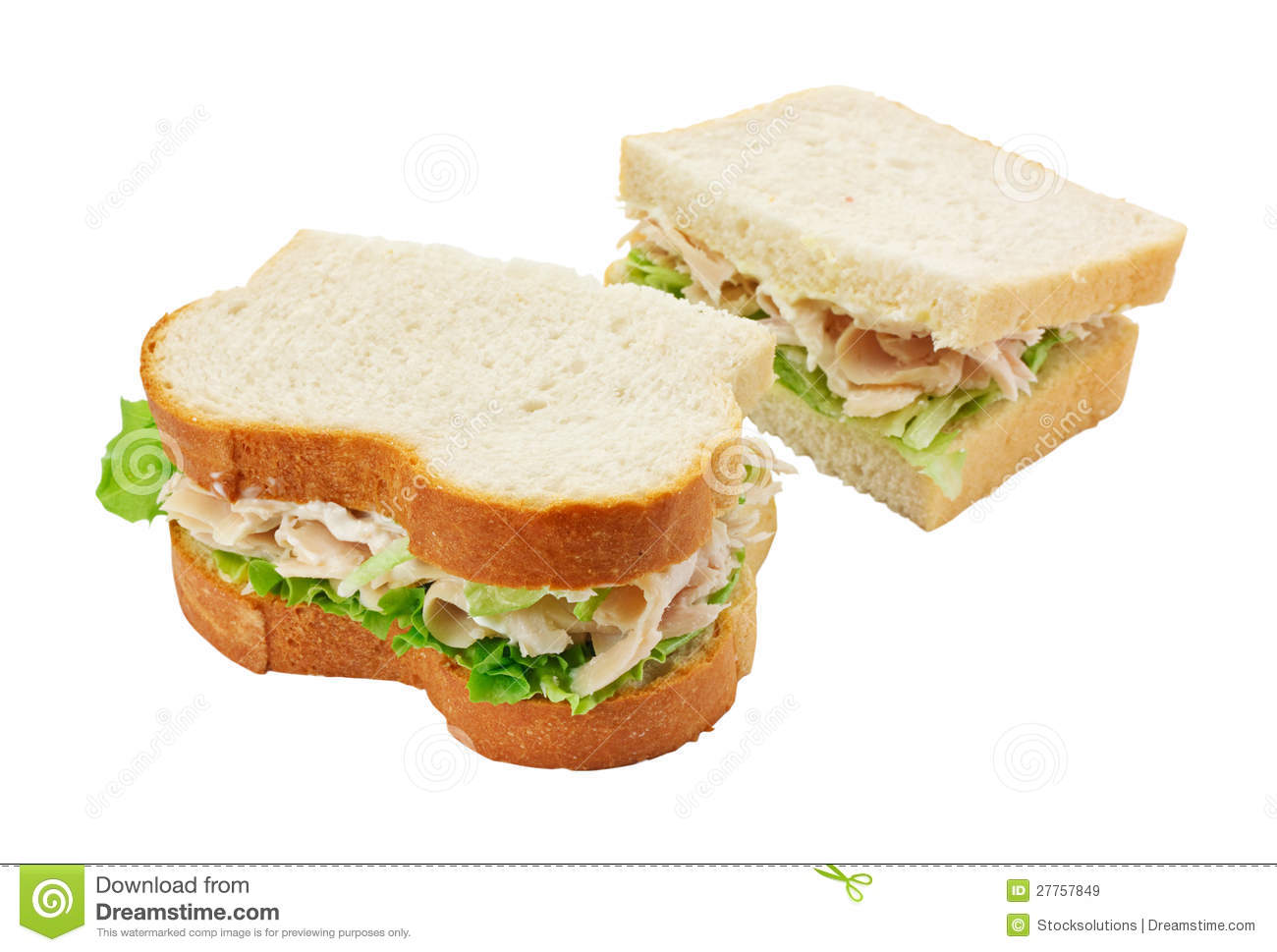 Turkey Salad Sandwich Sliced Bread Royalty Free Stock Images - Image ...
