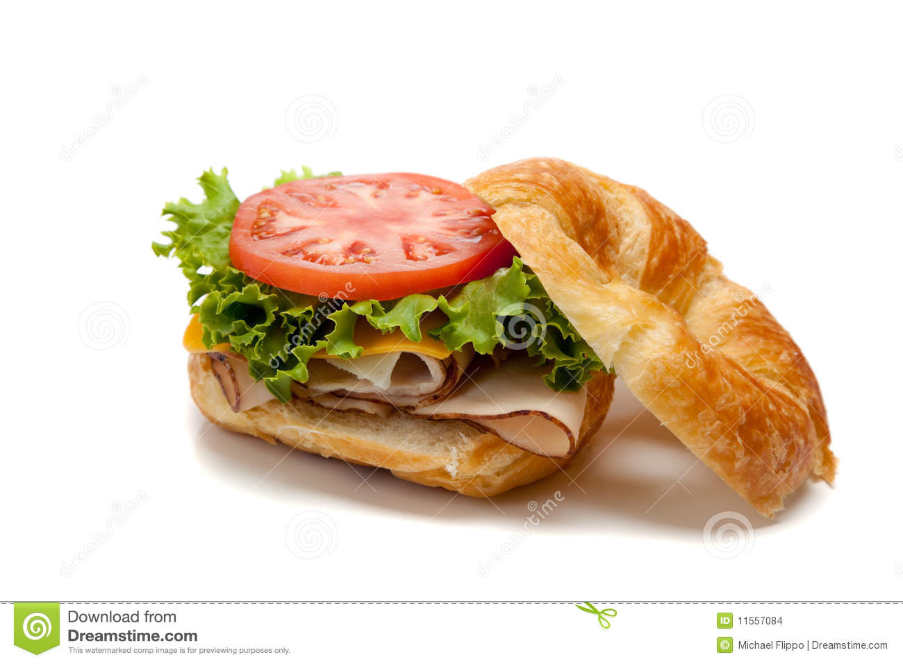 A Turkey Sandwich On A Croissant Stock Photo Image Of Fresh Fast