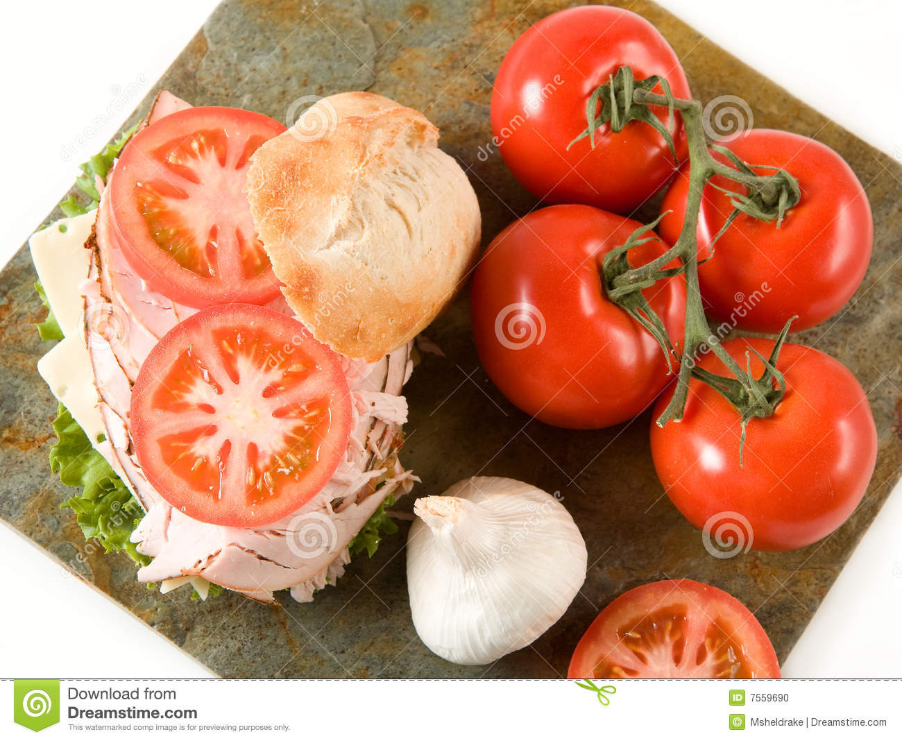 Turkey Sandwich And Vegetables Stock Photo - Image: 7559690