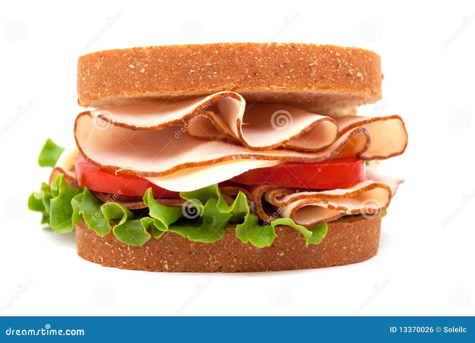 Turkey Sandwich On Wheat Bread Royalty Free Stock Image