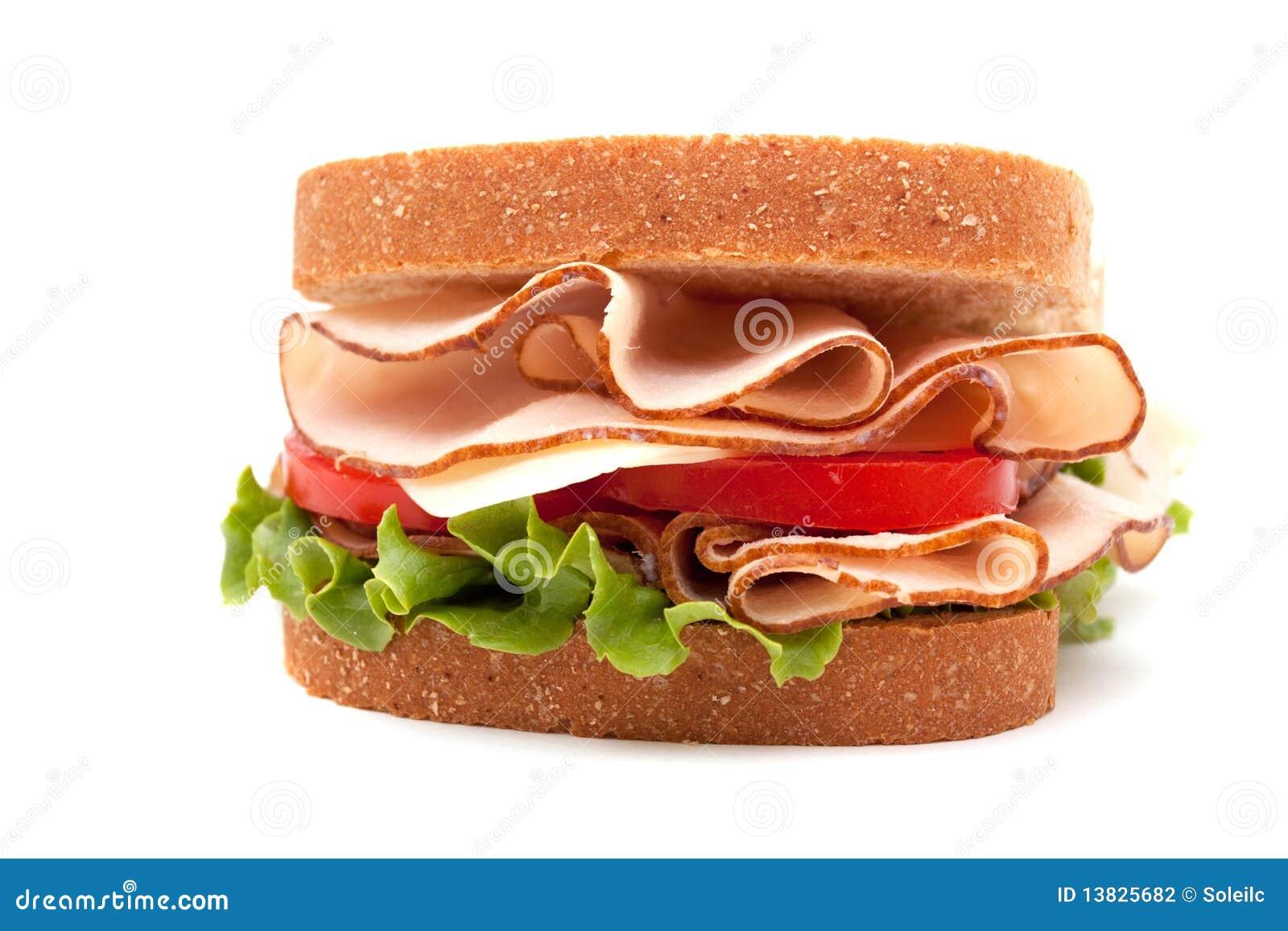Turkey Sandwich On Wheat Bread Stock Photo Image Of Background