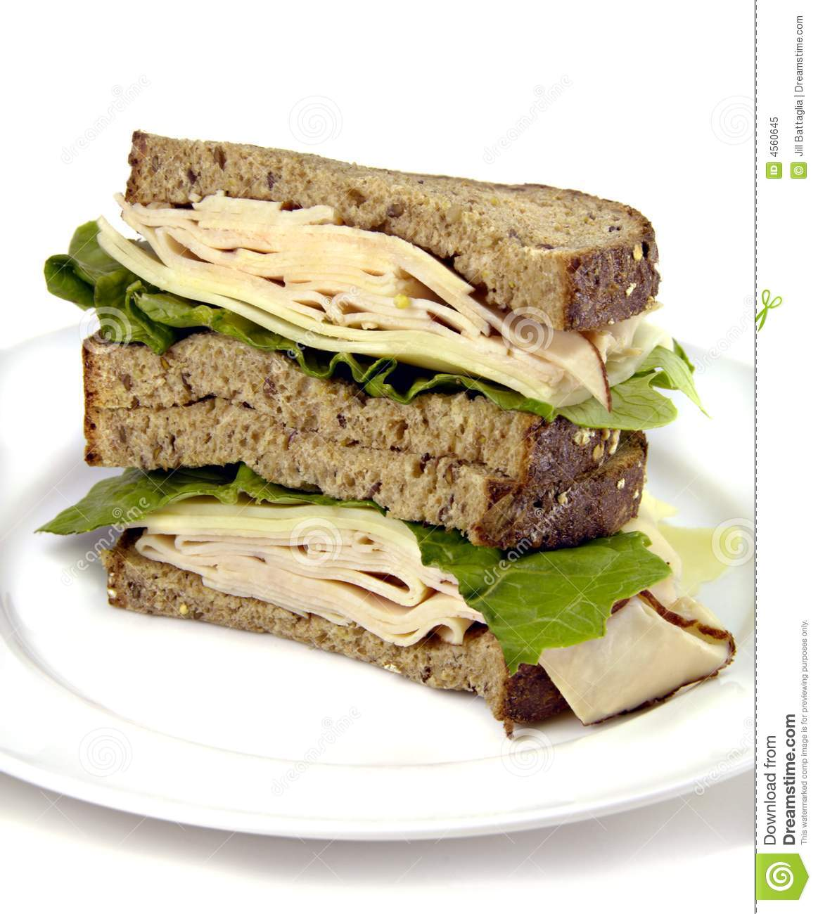Turkey Sandwich On Whole Grain Bread Royalty Free Stock Photo - Image ...