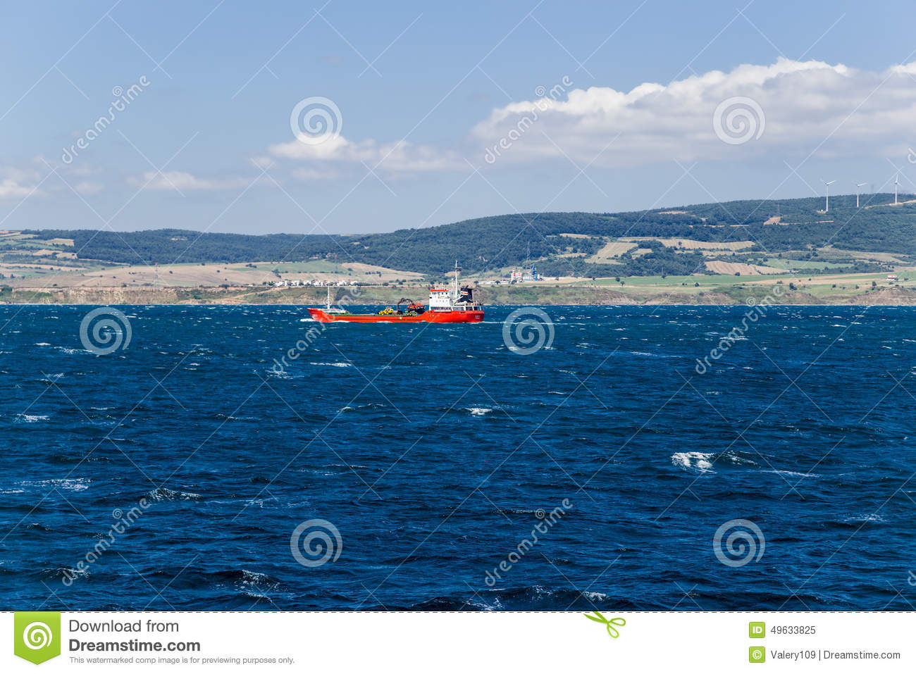 Turkey  Seascape With Cargo Ship In The Strait Of Dardanelles Stock
