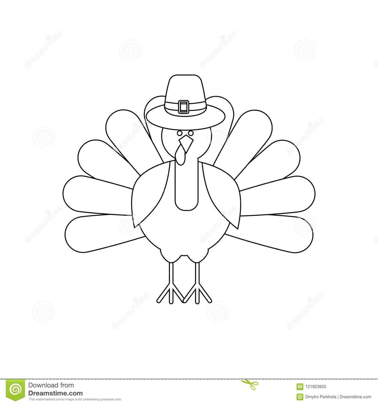 Turkey Thanksgiving Day Coloring Page Stock Vector - Illustration of ...