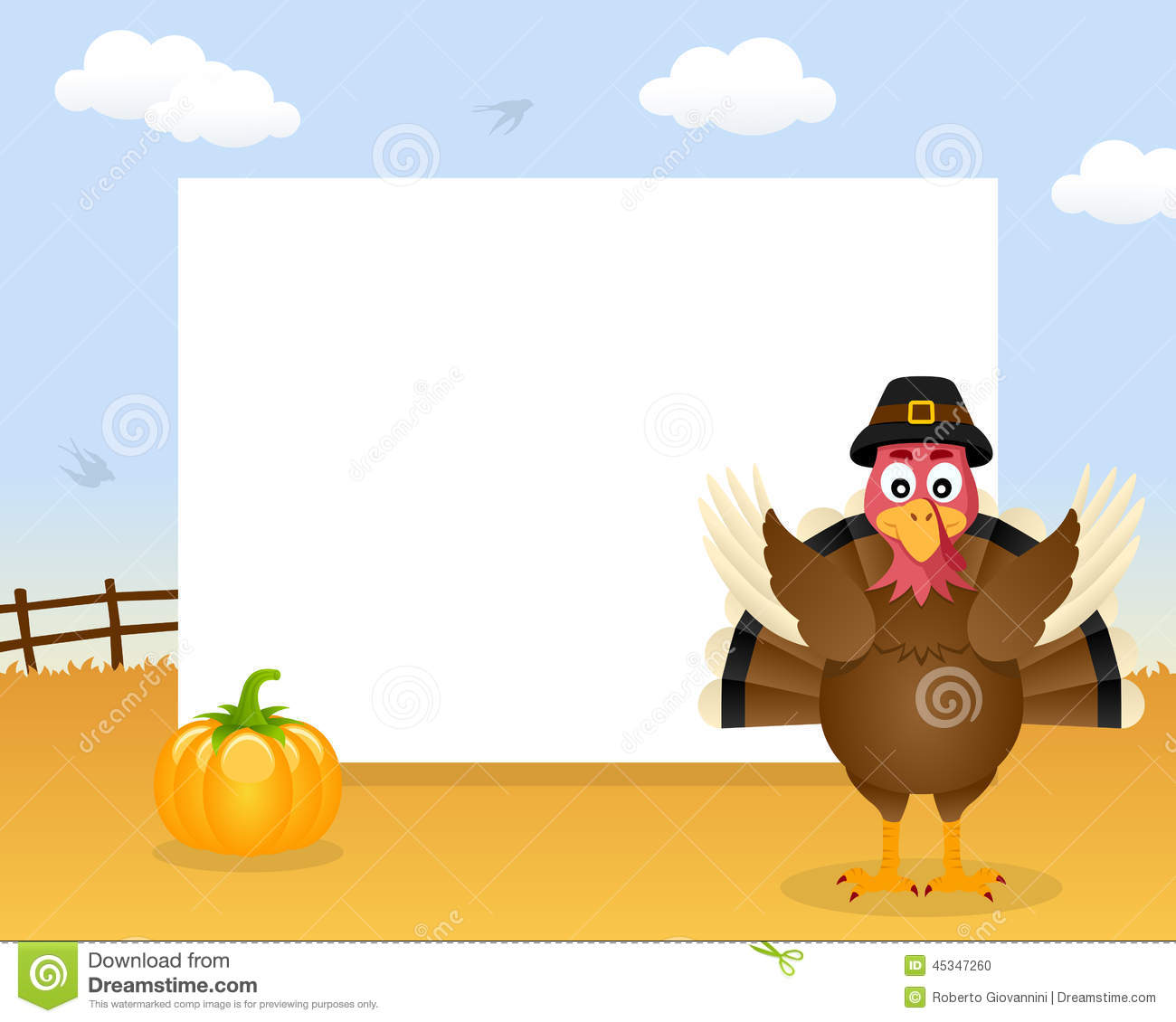 Turkey Thanksgiving Horizontal Frame