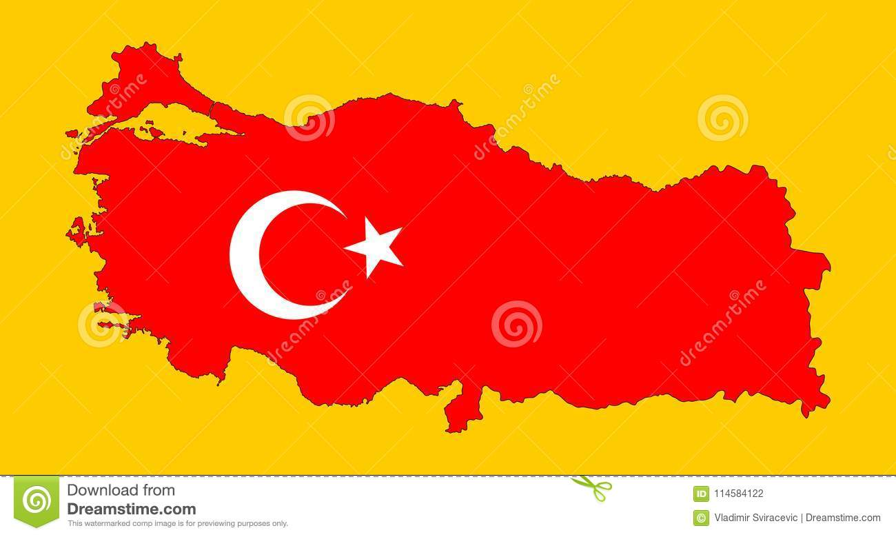 Turkey Vector Map And Flag Over Map. Stock Illustration ...