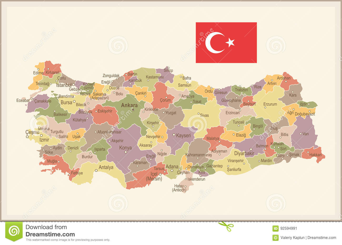 Turkey Vintage Map And Flag Illustration Stock Illustration