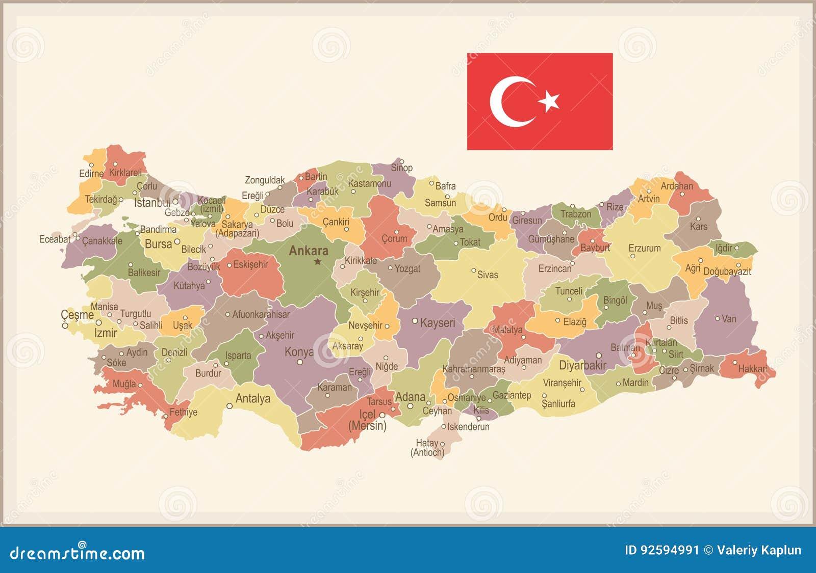 Turkey Vintage Map And Flag Illustration Stock Illustration