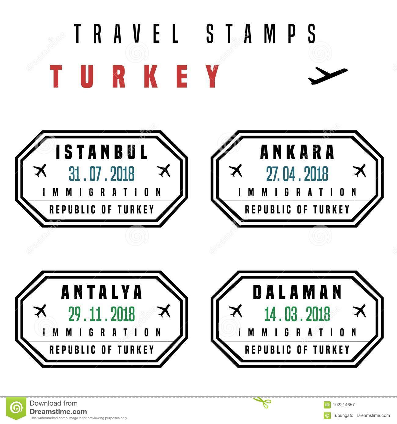 Turkey Visa Stamps Stock Vector Illustration Of Document 102214657