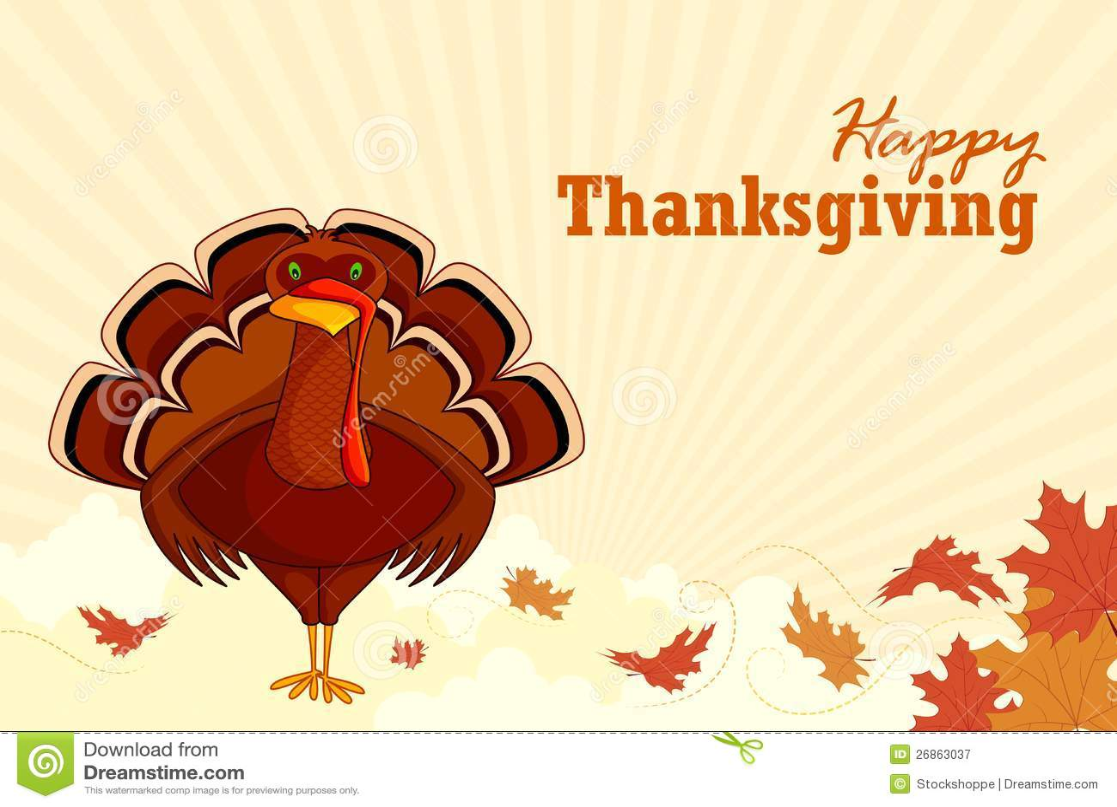 Turkey wishing happy thanksgiving royalty free stock photography