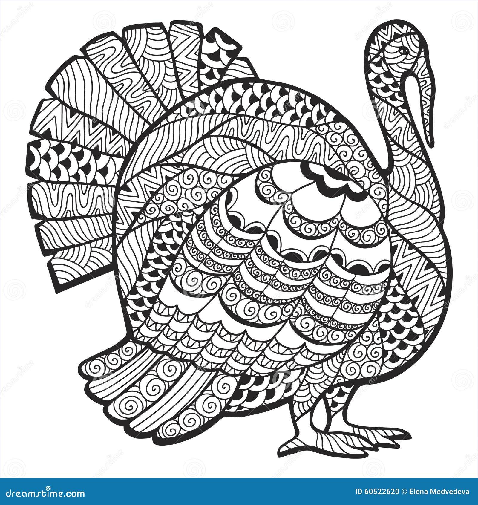 Turkey zentangle stock vector. Illustration of invitation ...