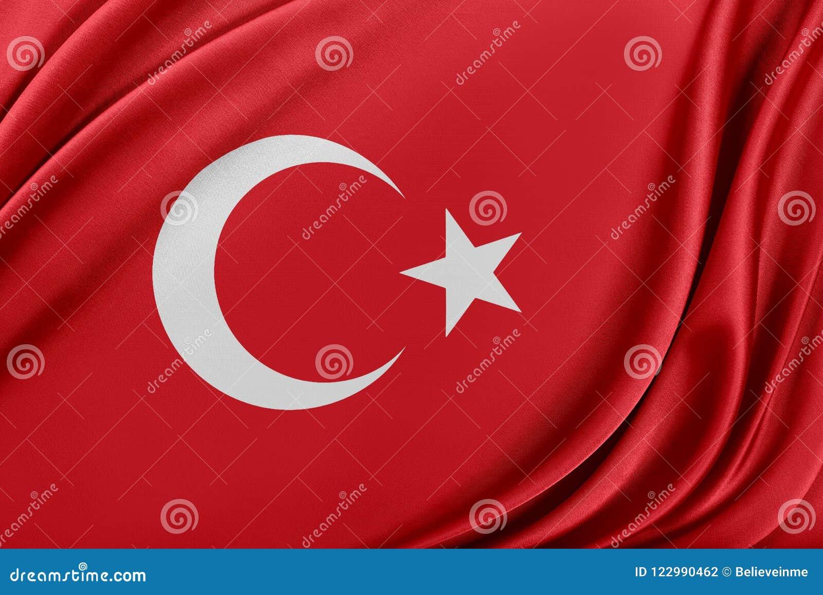 Turkiet flagga med en glansig siden- textur
