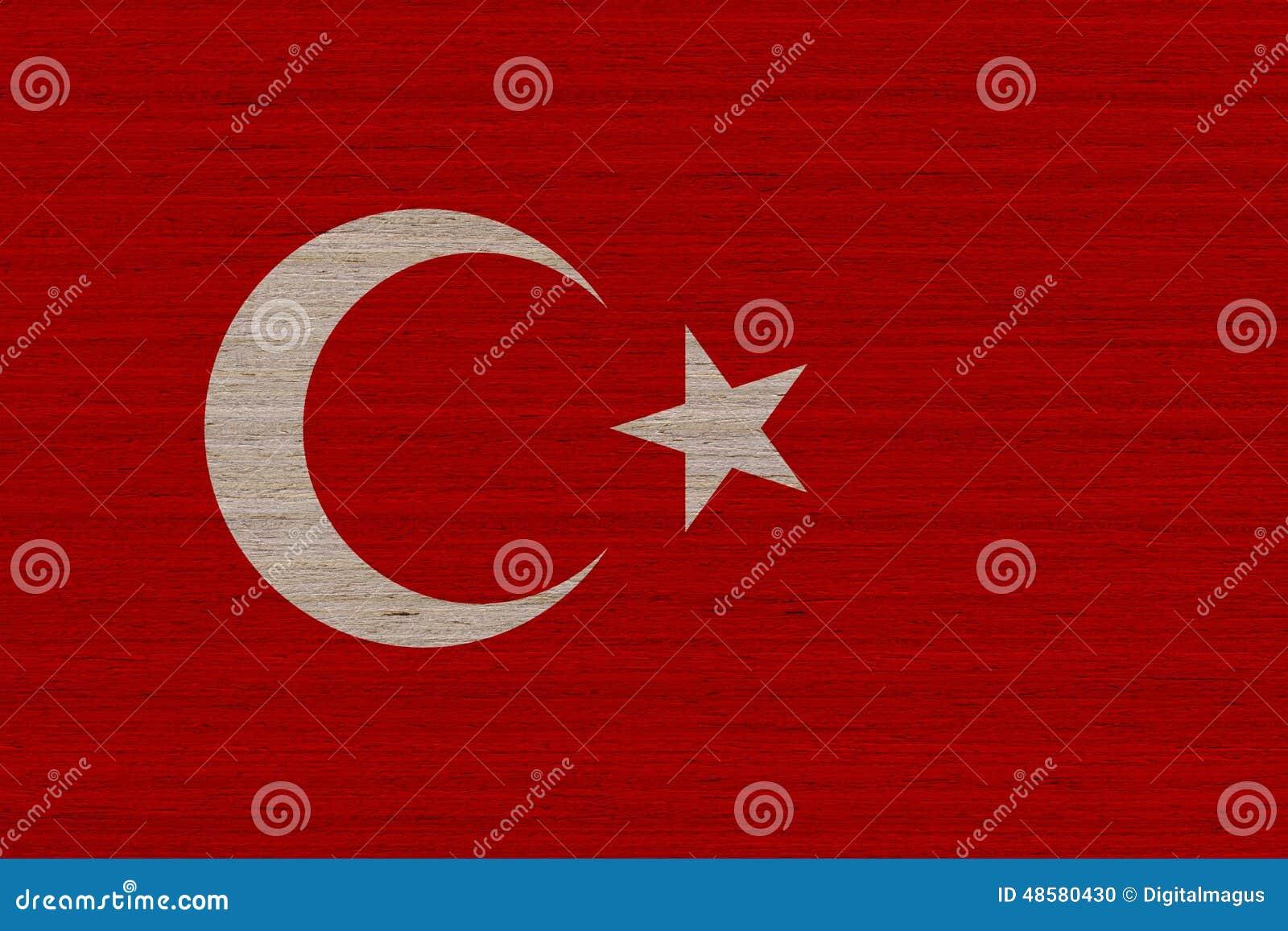 Turkiet flagga på trä