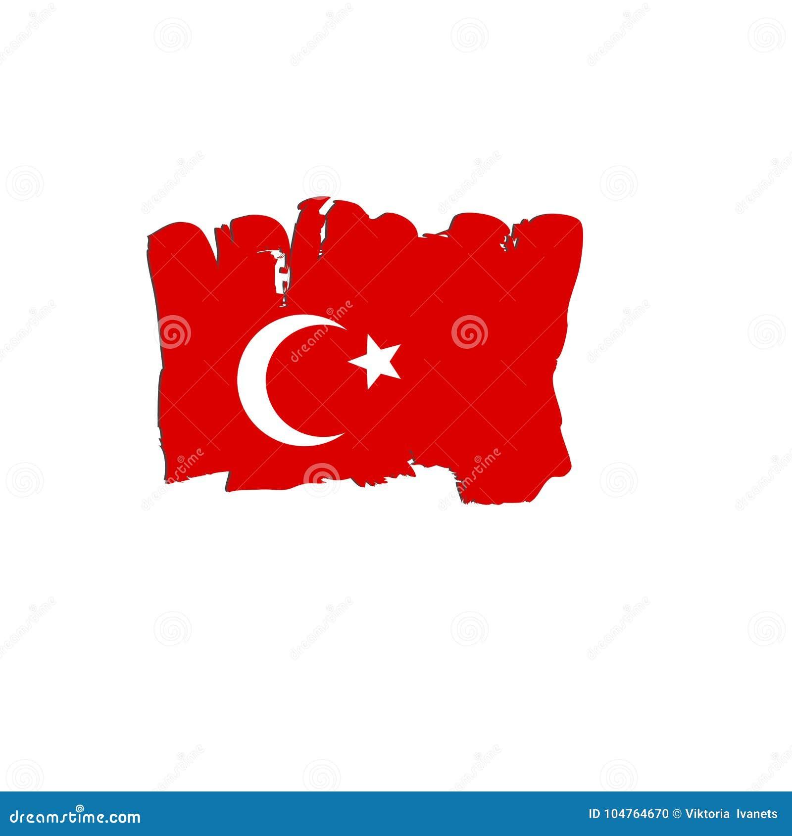 Turkiet flagga som målas av borstehandmålarfärger Konstflagga Vattenfärgflagga