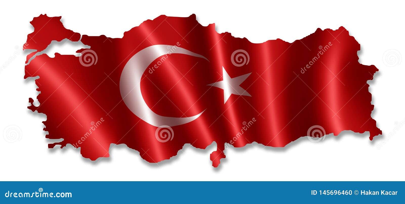 Turkiet ?versikt med flaggan