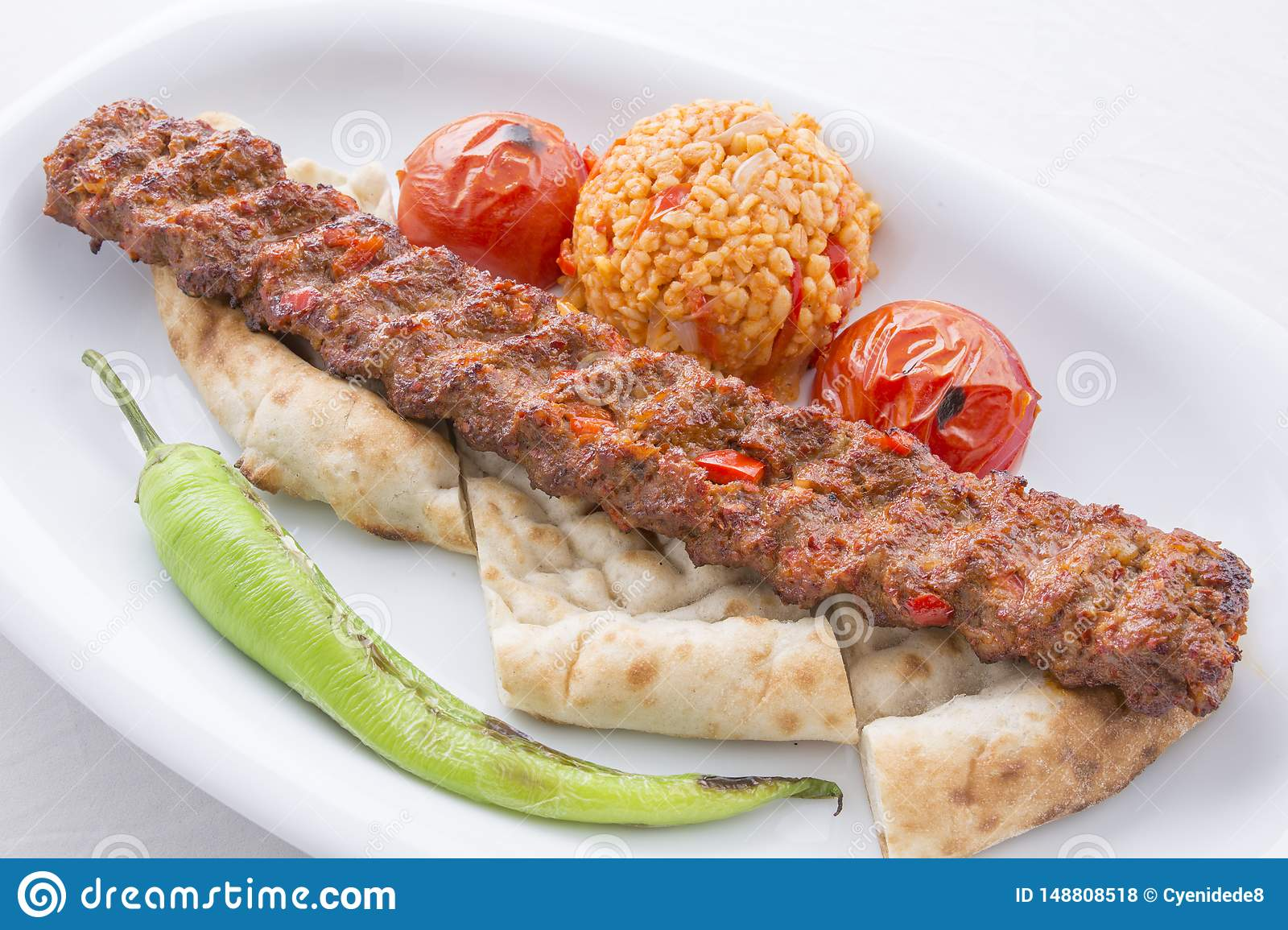 Turkish Adana Kebab Served In Plate Stock Photo Image Of Delicious Tomato 148808518