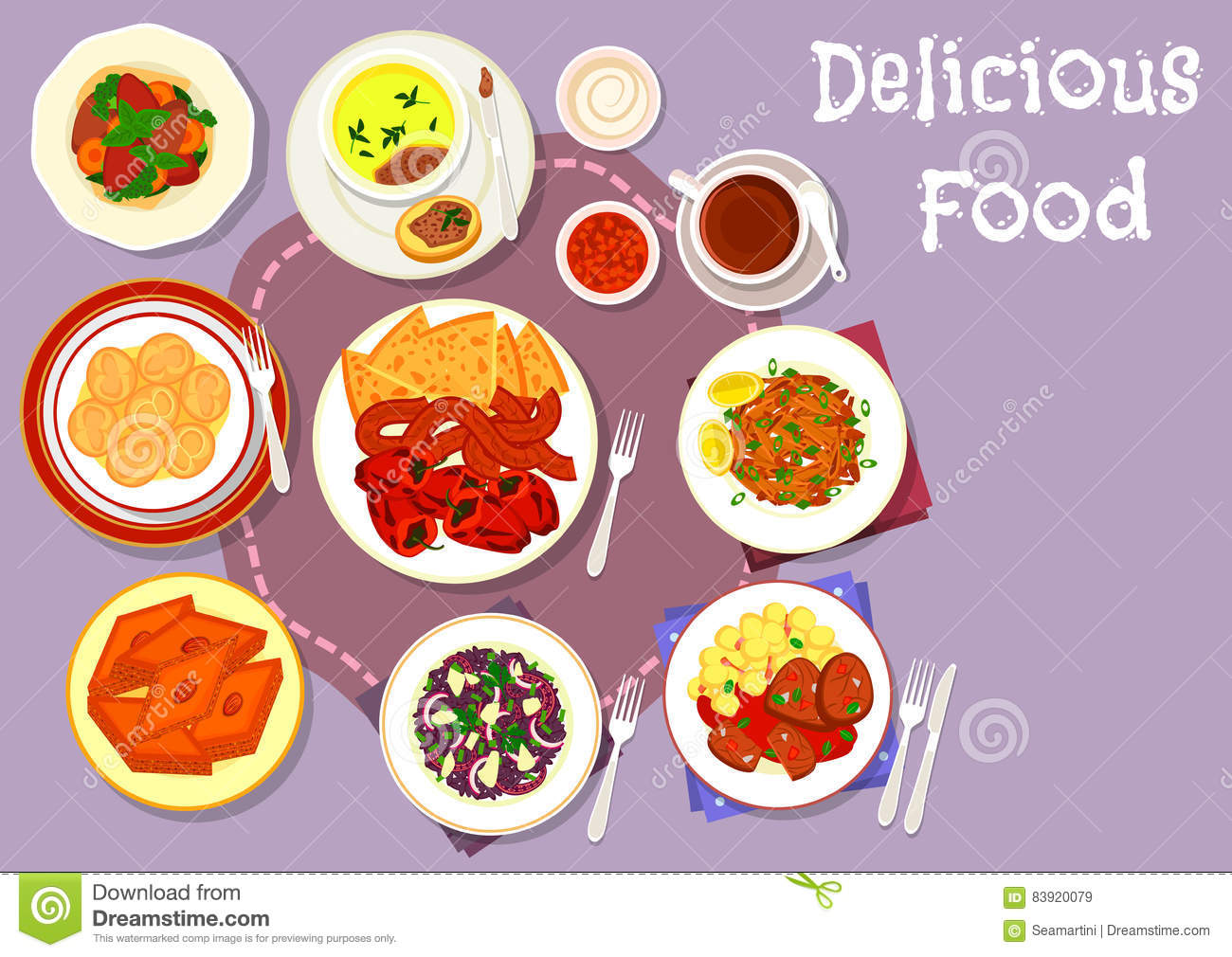 Turkish and balkan cuisine icon for food design stock for Conception cuisine snack
