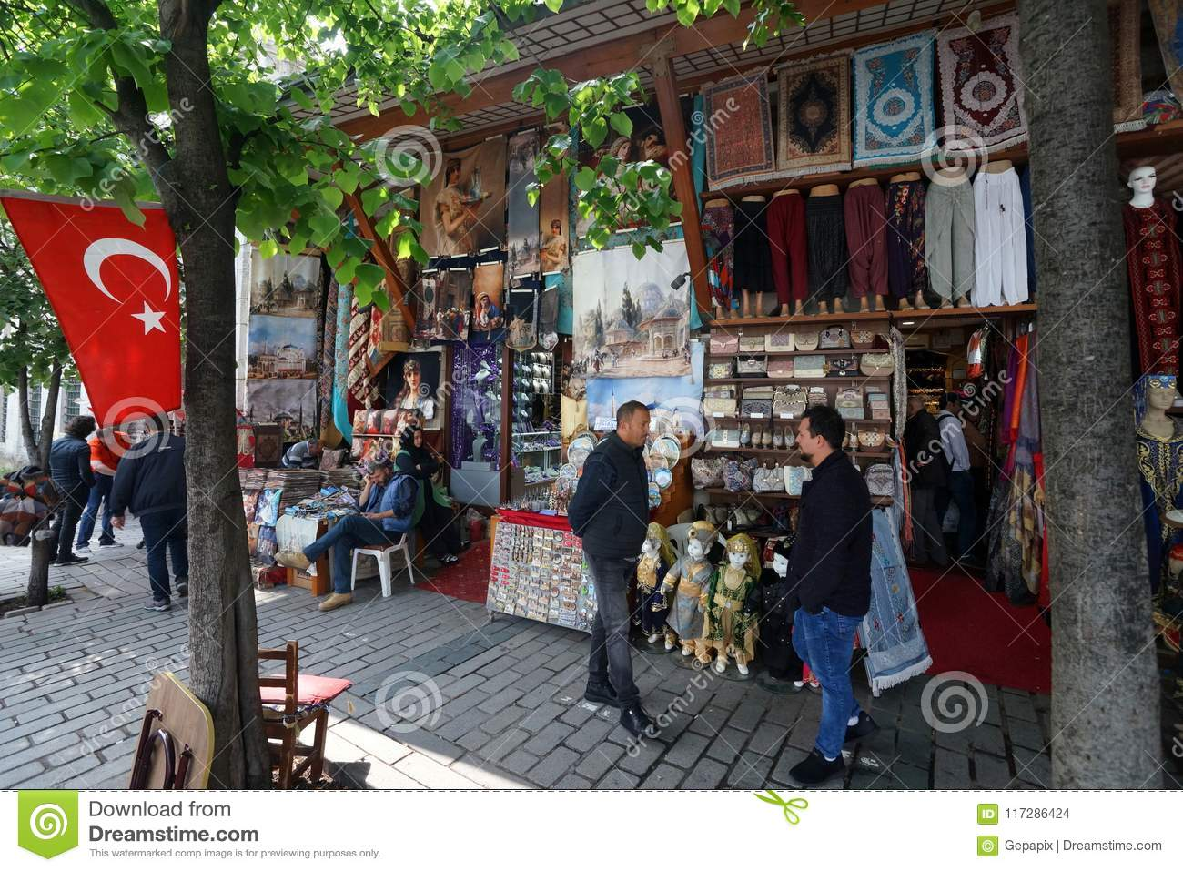 Turkish Bazar in Istanbul editorial stock image  Image of flag