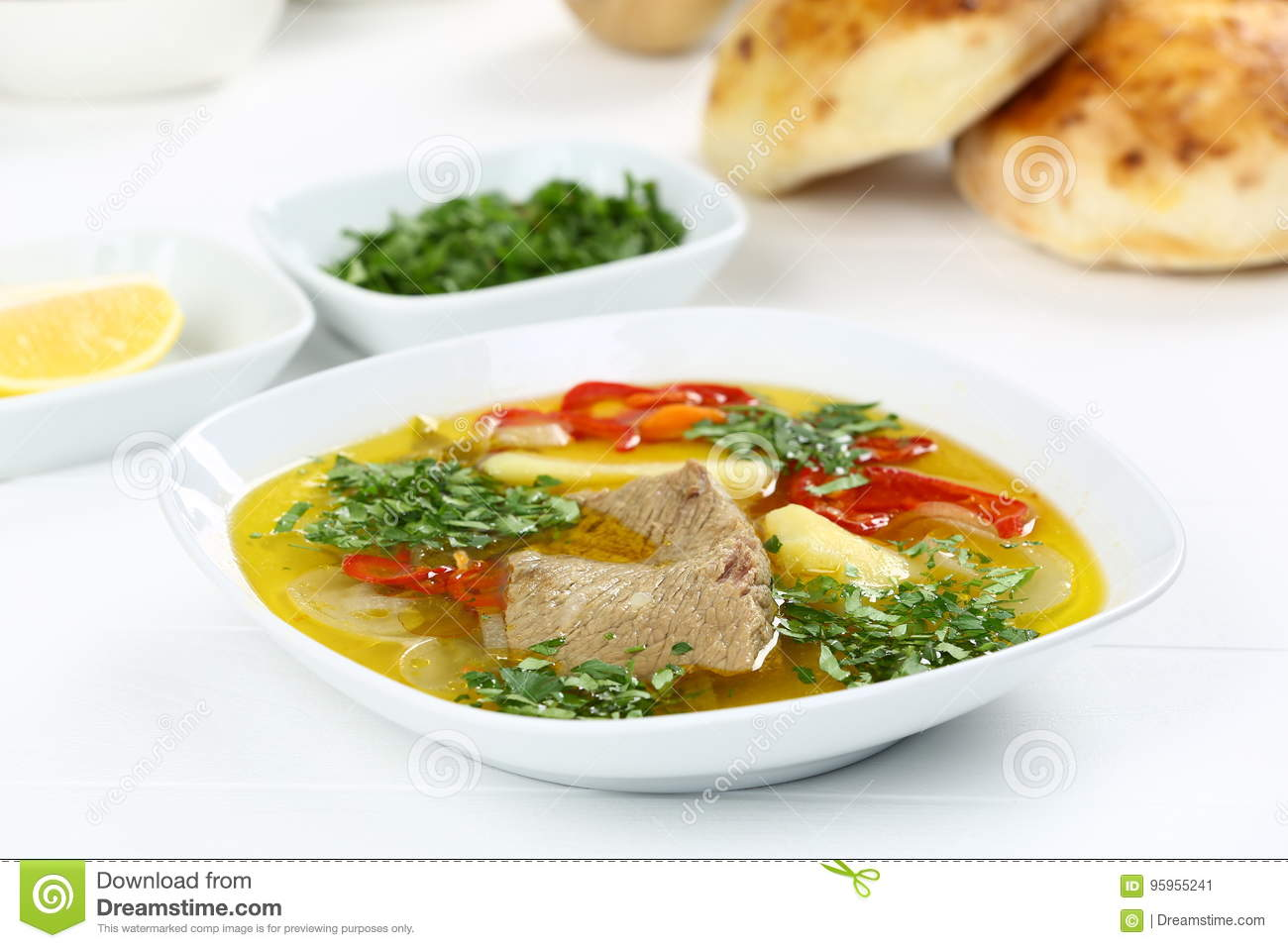 Turkish Bony Lamb Soup With Carrot Stock Image Image Of Clay Food