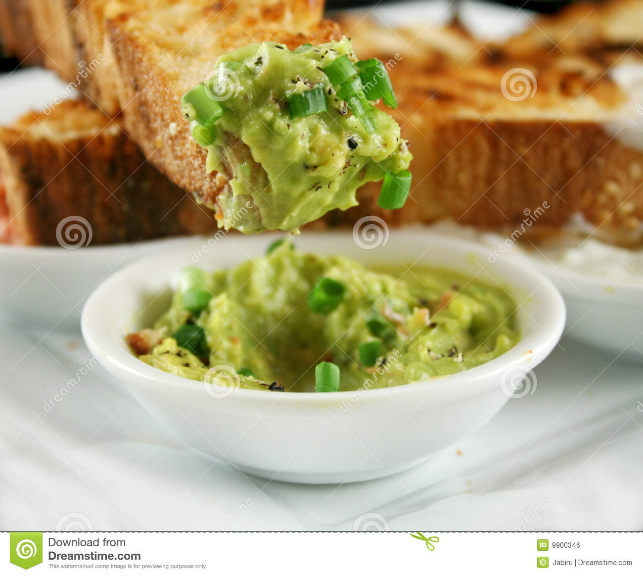40524277d5 Delicious and colorful avocado dip with grilled Turkish bread.
