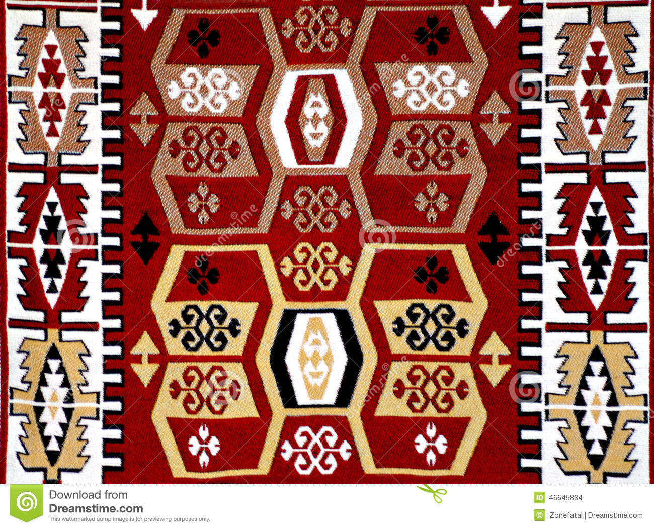 Turkish Carpet Pattern With Motifs Stock Photo - Image ...