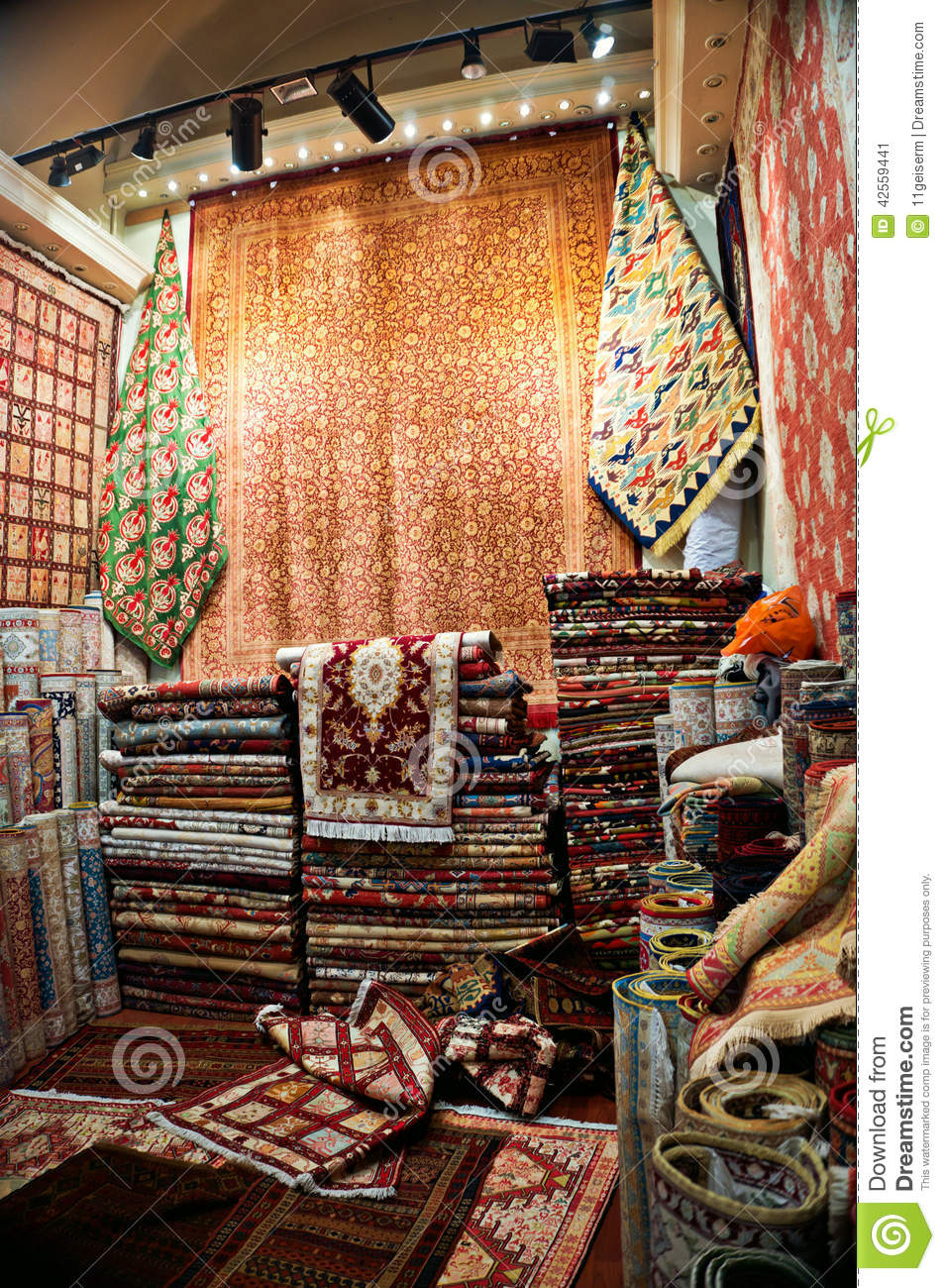 Turkish Carpet Shop Stock Image Image Of Stack Stacks