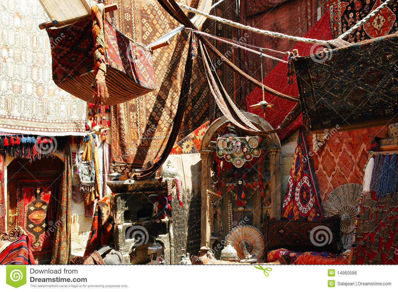 Turkish Carpet Store Bazaar Royalty Free Stock Image