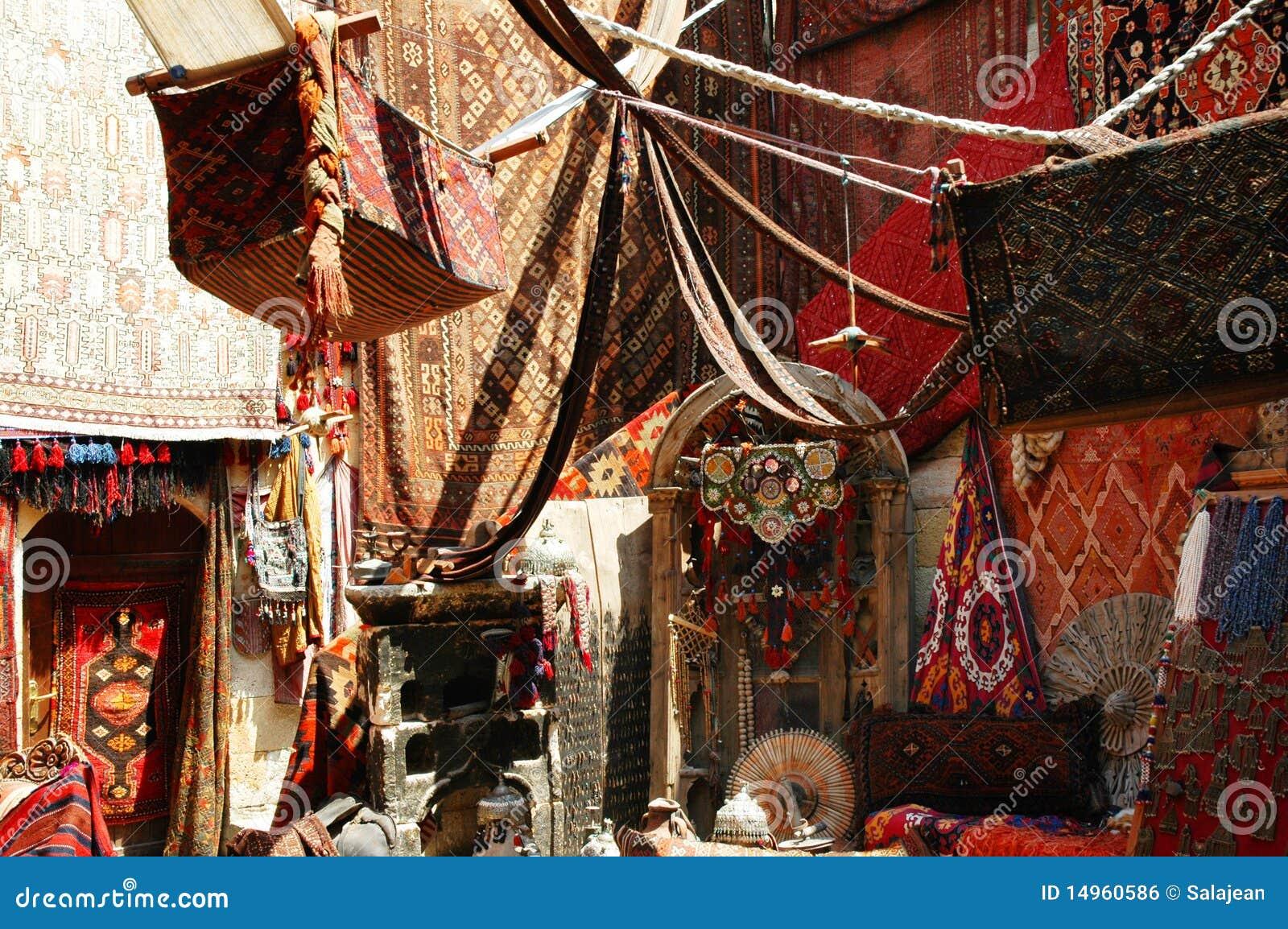 Turkish Carpet Store Bazaar Royalty Free Stock Image
