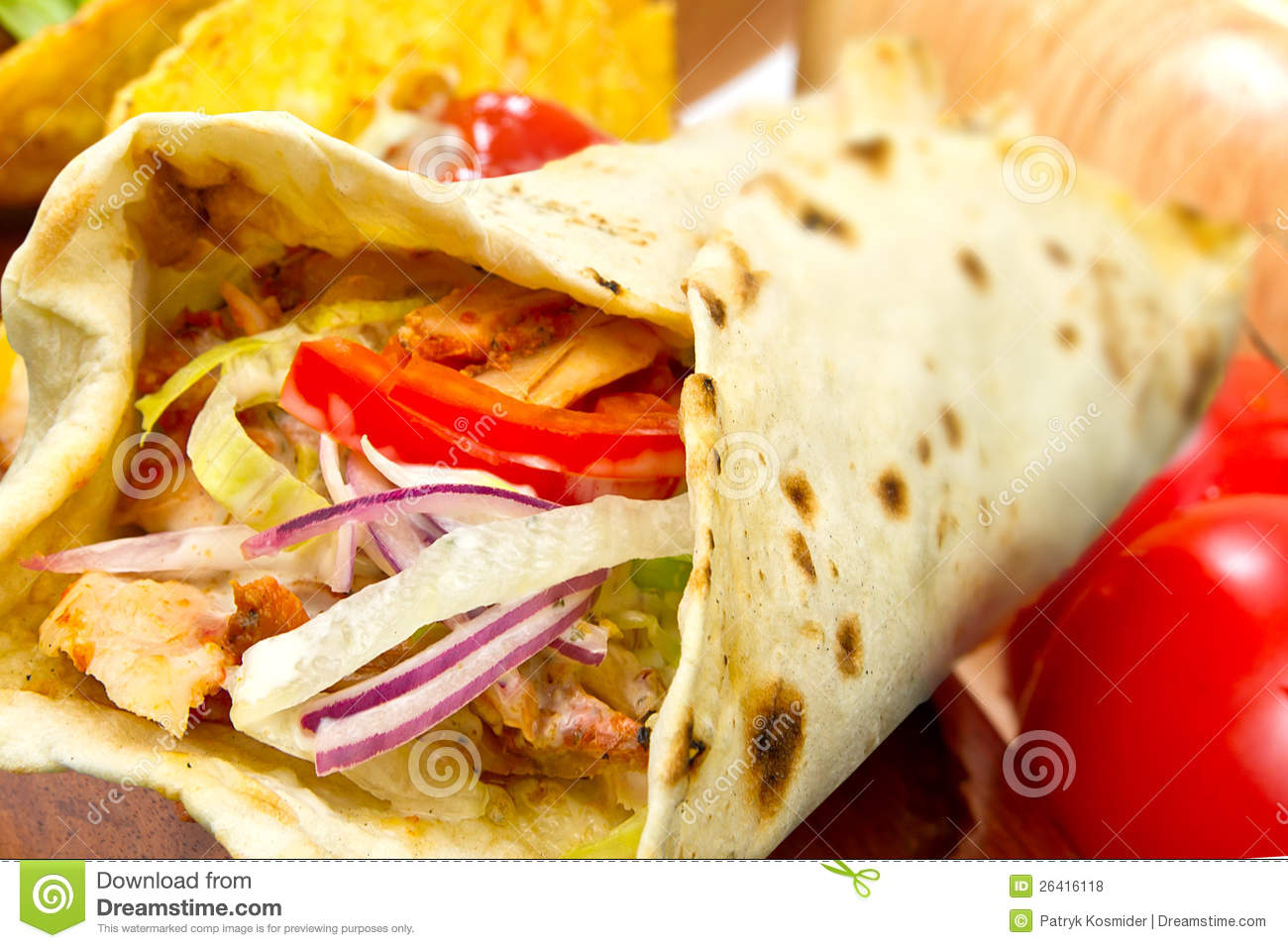 Turkish Chicken Doner Kebab Stock Photo Image Of Kebab Meat 26416118