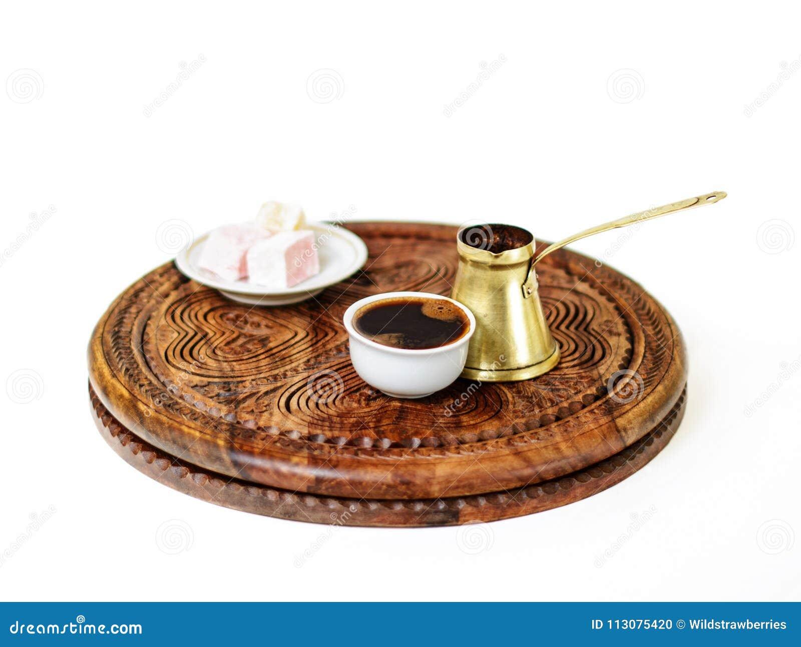 Turkish coffee, fildzan, ibrik and rahat lokum.
